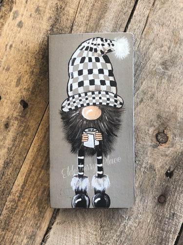 PRINT BLOCK of Original Gnome - Checkered Hat & Toilet Paper 7