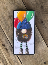 Load image into Gallery viewer, PRINT BLOCK of Original Gnome - Birthday, Balloons, Gift 7""