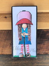 "Load image into Gallery viewer, PRINT BLOCK of Original Gnome - Lady Golfer 7"" Golf"