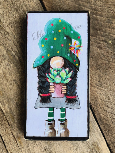 PRINT BLOCK of Original Gnome - Girl with Succulent 7