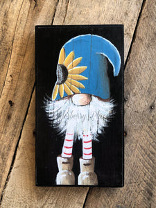PRINT BLOCK of Original Gnome - Blue Hat with Sunflower 10""