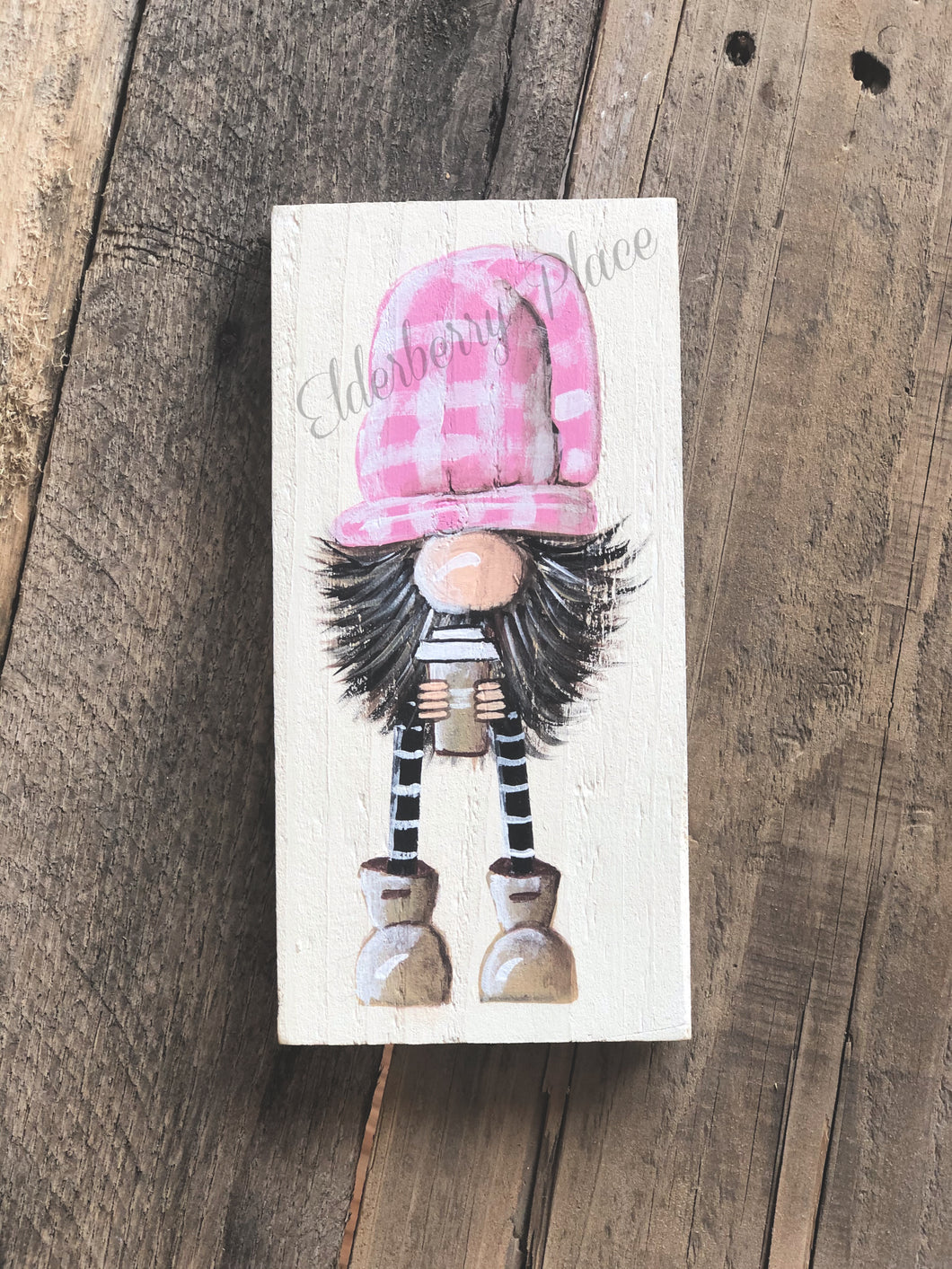 Gnome - Pink Plaid Hat with Coffee 7