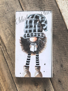 PRINT of BLOCK Original Gnome - Plaid Hat with Toilet Paper 10""