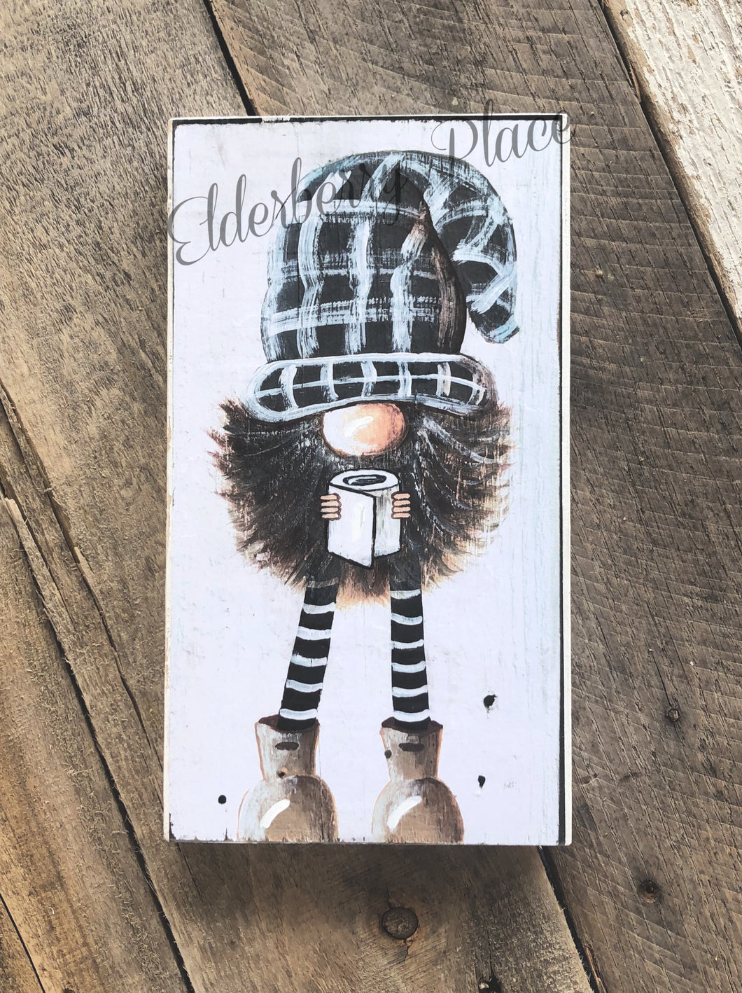 PRINT of BLOCK Original Gnome - Plaid Hat with Toilet Paper 10
