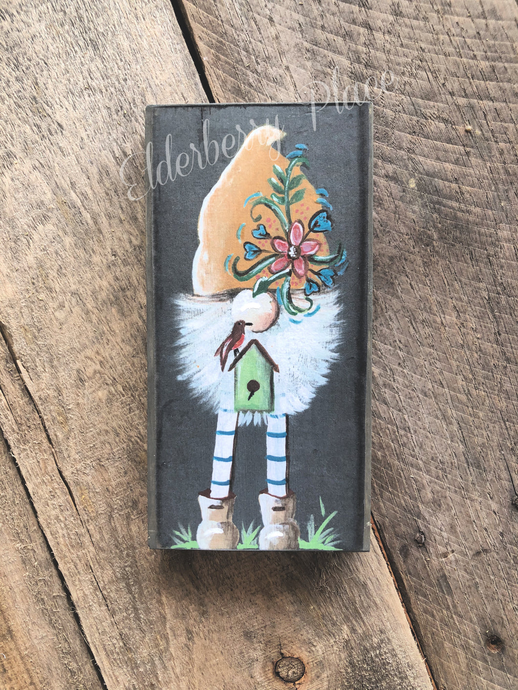 PRINT BLOCK of Original Gnome - with Birdhouse 7