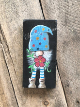 Load image into Gallery viewer, PRINT BLOCK of Original Gnome - Blue Hat with Flower 7""