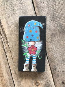 PRINT BLOCK of Original Gnome - Blue Hat with Flower 7""