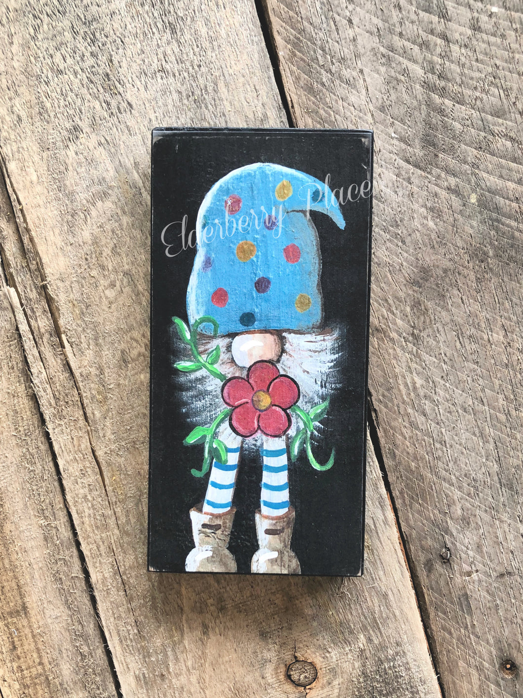 PRINT BLOCK of Original Gnome - Blue Hat with Flower 7
