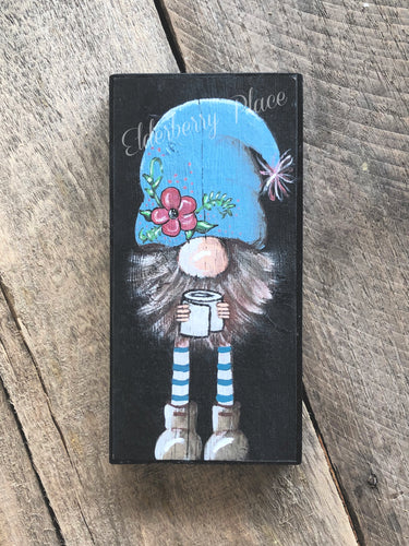 PRINT BLOCK of Original Gnome - Blue Hat with Toilet Paper 7