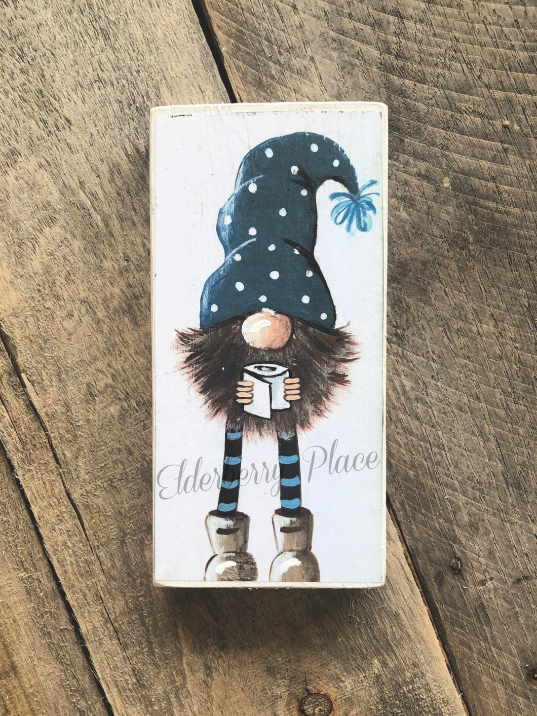 PRINT BLOCK of Original Gnome - Blue Dotted Hat & Toilet Paper 7