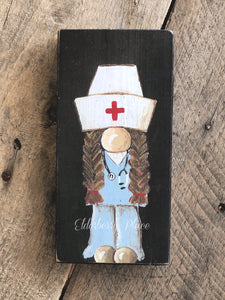 PRINT BLOCK of Original Gnome - Nurse Dark Hair 7""