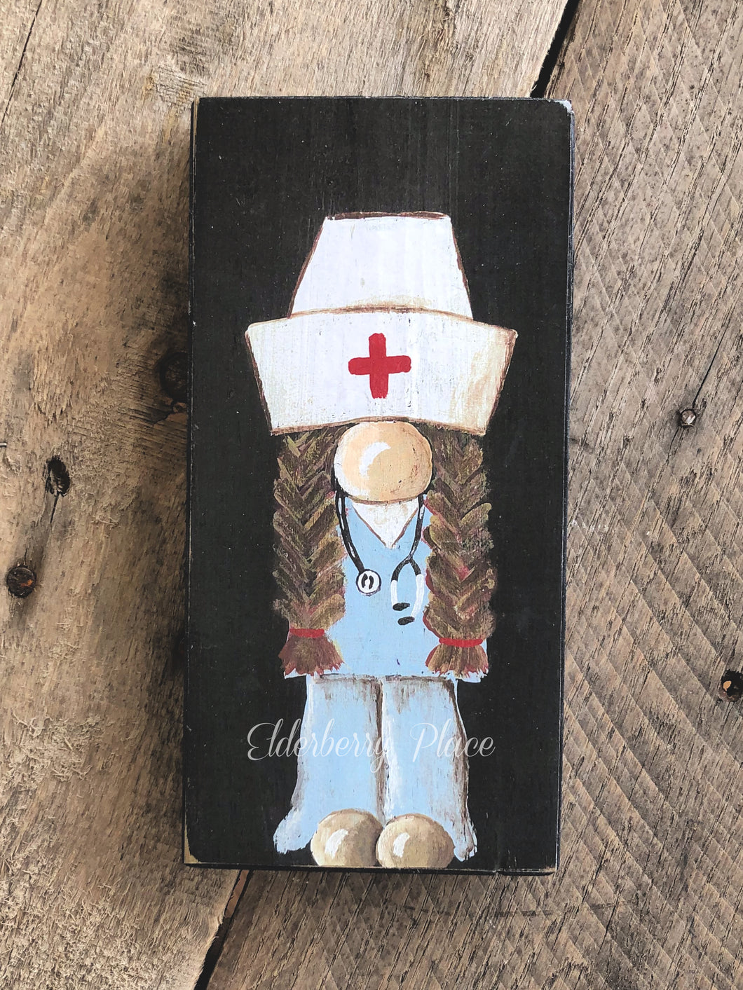 PRINT BLOCK of Original Gnome - Nurse Dark Hair 7