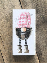 Load image into Gallery viewer, PRINT BLOCK of Original Gnome - Pink Hat With Coffee 6-3/4""