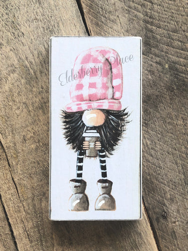 PRINT BLOCK of Original Gnome - Pink Hat With Coffee 6-3/4