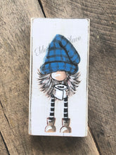 Load image into Gallery viewer, PRINT BLOCK of Original Gnome - Plaid Hat & Toilet Paper 7""