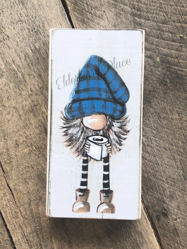 PRINT BLOCK of Original Gnome - Plaid Hat & Toilet Paper 7
