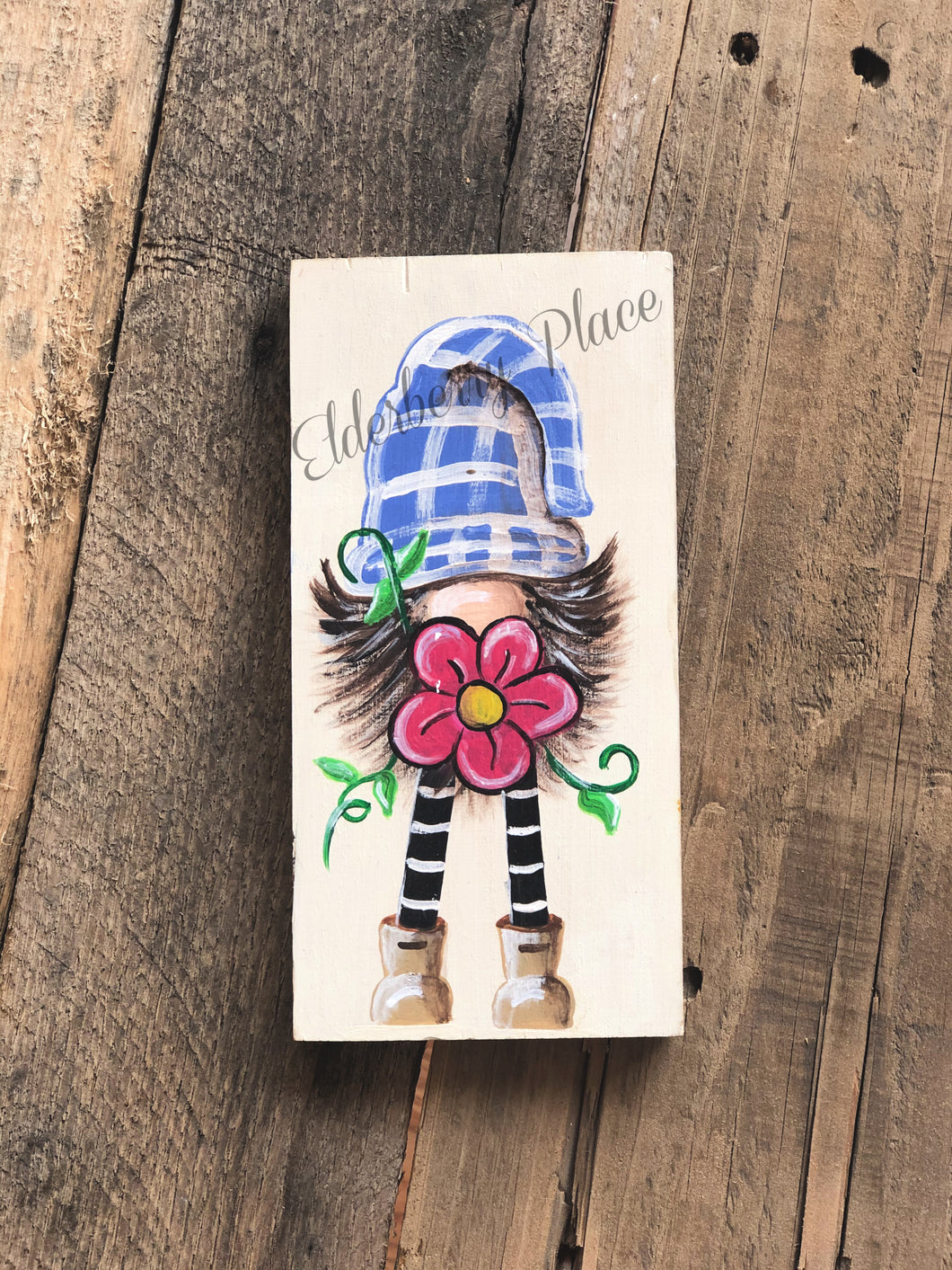Gnome - Blue Plaid Hat with Pink Flower 7