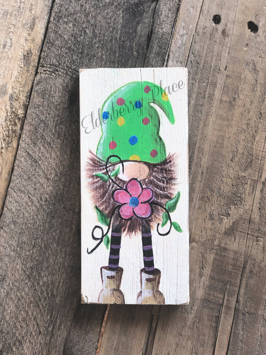 Gnome - Green Hat with Pink Flower 7