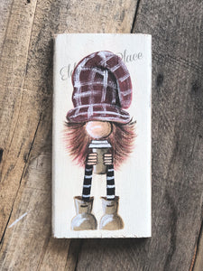 Gnome - Rusty Red Plaid Hat with Coffee 7""