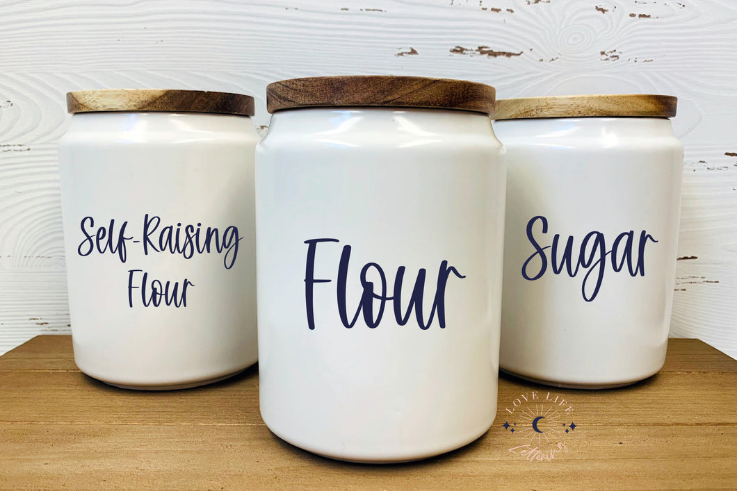 Vinyl Decal Sticker for Pantry Jars and Containers // Organisation Labels // Food Storage Stickers