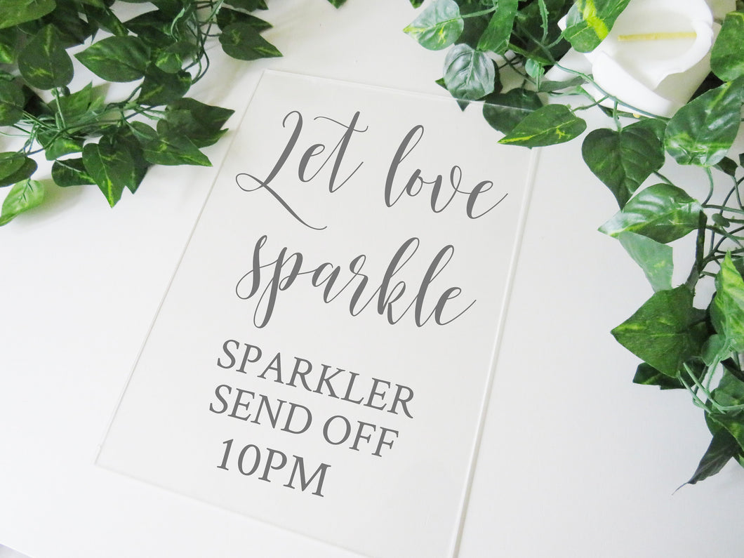 Vinyl Decal For Sparkler Send Off Sign // Let Love Sparkle Custom Sticker for A3 or A4 Wedding Sign // DIY Wedding Signage