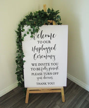 Load image into Gallery viewer, Vinyl Decal Unplugged Ceremony Wedding Welcome Sign // A3/A2 // DIY Ceremony Signage
