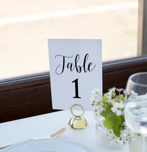 Load image into Gallery viewer, Vinyl Sticker Table Number Decal // Wedding Reception Table Name Decorations // 5x5 // Gold, Silver, Black, White