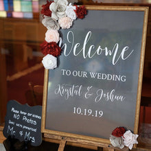 Load image into Gallery viewer, Vinyl Decal Sticker for DIY Wedding Welcome Sign // 11 inches/14.5 inches wide // Easy to Apply Wedding Sign Decal // Event Signage DIY