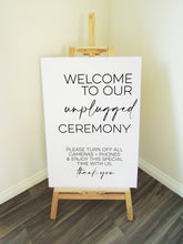 Load image into Gallery viewer, Vinyl Decal Unplugged Ceremony Minimal Wedding Welcome Sign // A3/A2 // DIY Ceremony Signage