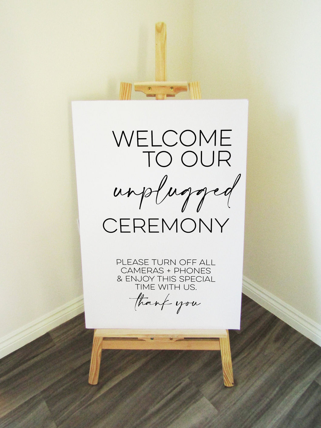 Vinyl Decal Unplugged Ceremony Minimal Wedding Welcome Sign // A3/A2 // DIY Ceremony Signage