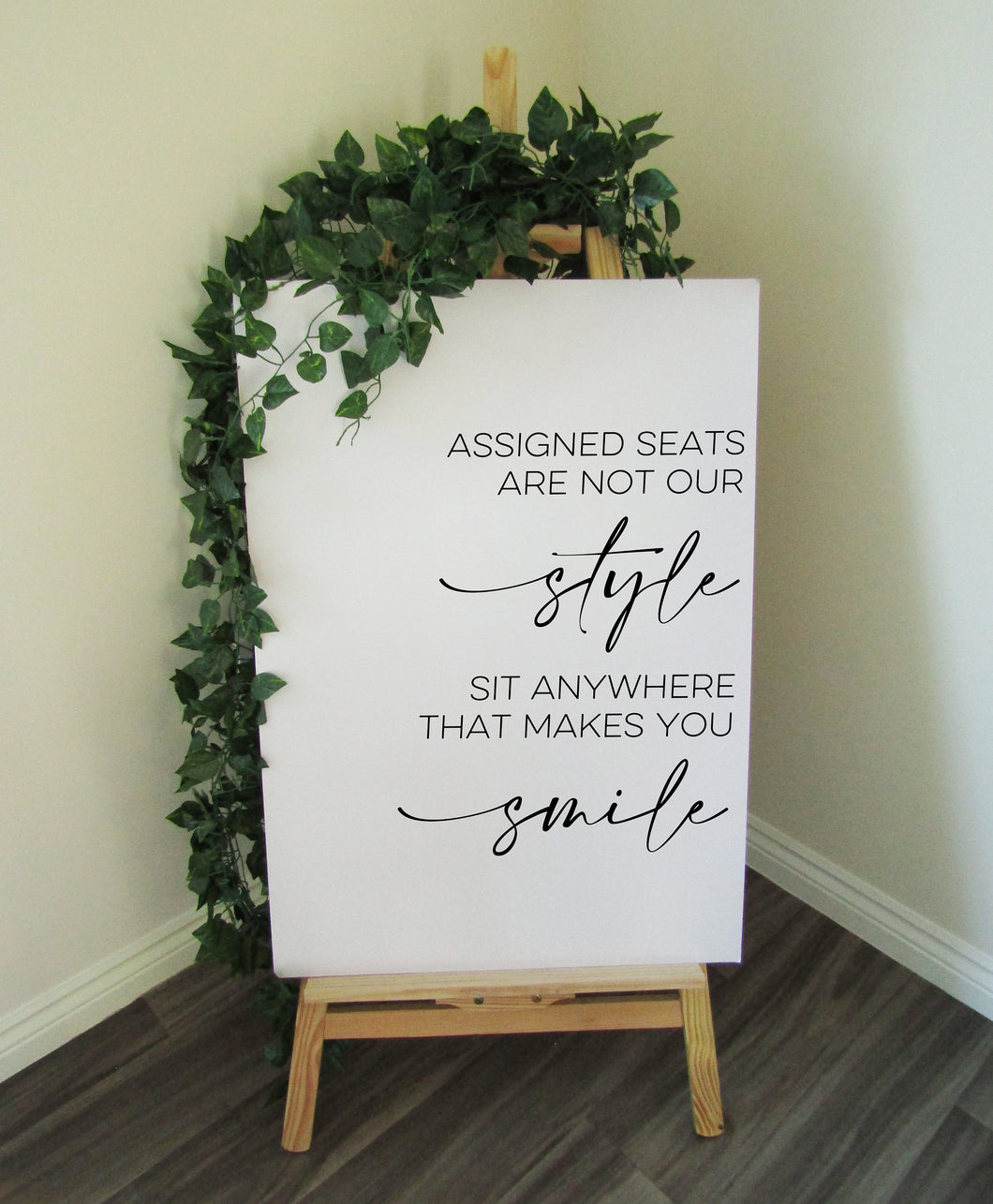 Vinyl Decal 'Assigned Seats are not our style' Minimal Wedding Welcome Sign // A3/A2 // DIY Ceremony Signage