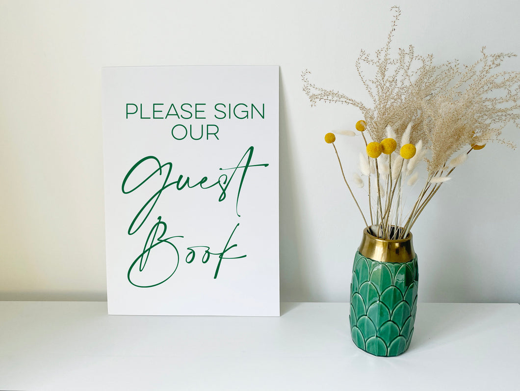 Vinyl Decal Sticker 'Please Sign Our Guest Book' for DIY Wedding Signage // A4/A3 // Minimal Design, Easy to apply