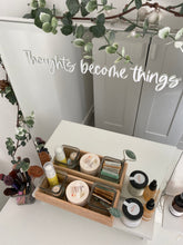 Load image into Gallery viewer, Vinyl Decal Sticker 'Thoughts become things' Mirror Mantra // Affirmation decal, perfect morning reminder to help visualise or manifest