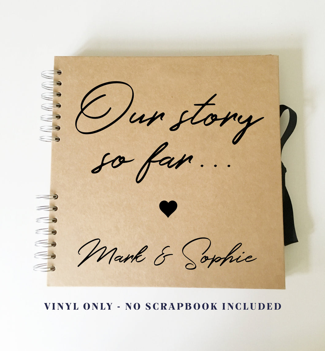 Vinyl Sticker for DIY Anniversary Scrap Book // Photo Album Cover // Custom Vday Gift for Husband, Wife, Fiance, Boyfriend - 4 sizes avail