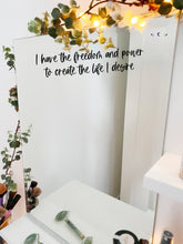 Load image into Gallery viewer, Vinyl Decal Sticker for Manifesting 'I have the freedom and power...' // Affirmation mirror decal, perfect visualisation tool