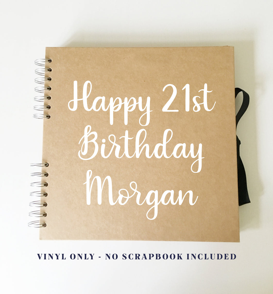 Vinyl Sticker for DIY Birthday Scrap Book // Photo Album Cover // Custom Gift - 4 sizes available
