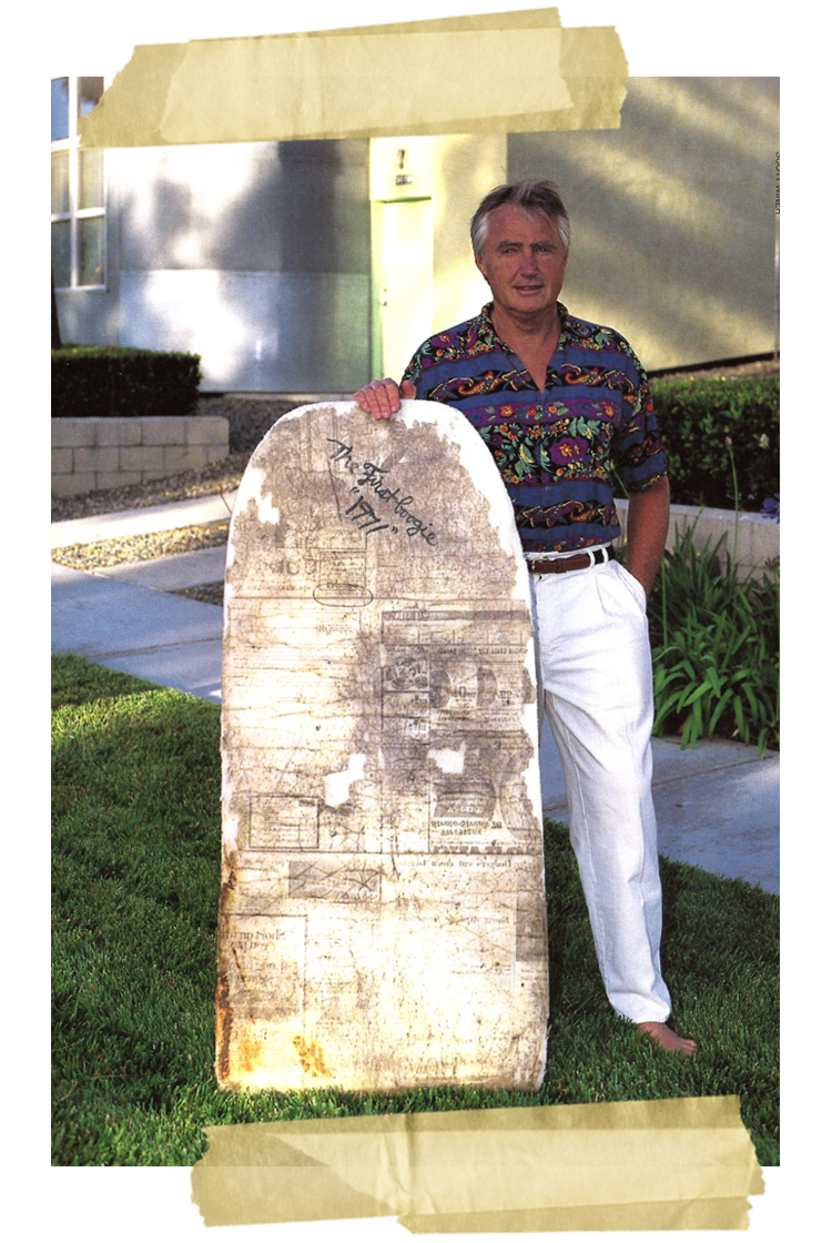 Tom Morey with the first Morey Boogie Boards were shaped by himself at his backyard