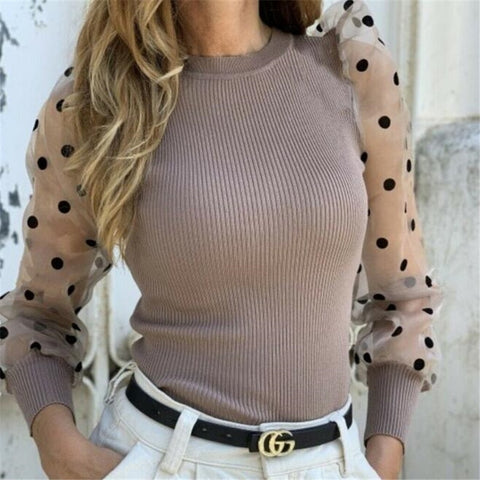 Long-sleeved round neck blouse