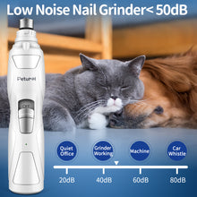 Load image into Gallery viewer, Petural Electric Dog Nail Grinder Low Noise Pet Nail Trimmer with 2 Grinding Wheels, Electric Rechargeable Pet Nail Grinder Painless Paws Grooming for Small Medium Large Dogs,Cats & More