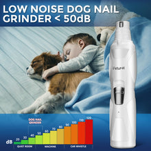 Load image into Gallery viewer, Petural Dog Nail Grinder Clippers – Upgraded 2-Speed Rechargeable Electric Pet Nail Trimmer – Painless Paws Grooming, Trimming Tool, Smoothing for Cats, Large, Medium & Small Dogs