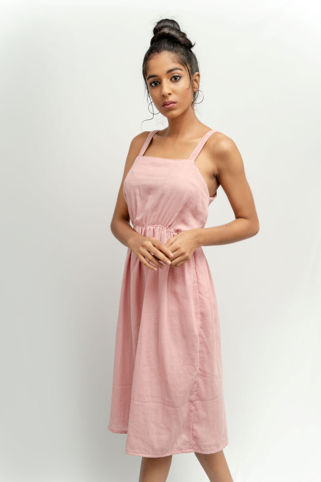 Soft touch linen midi dress