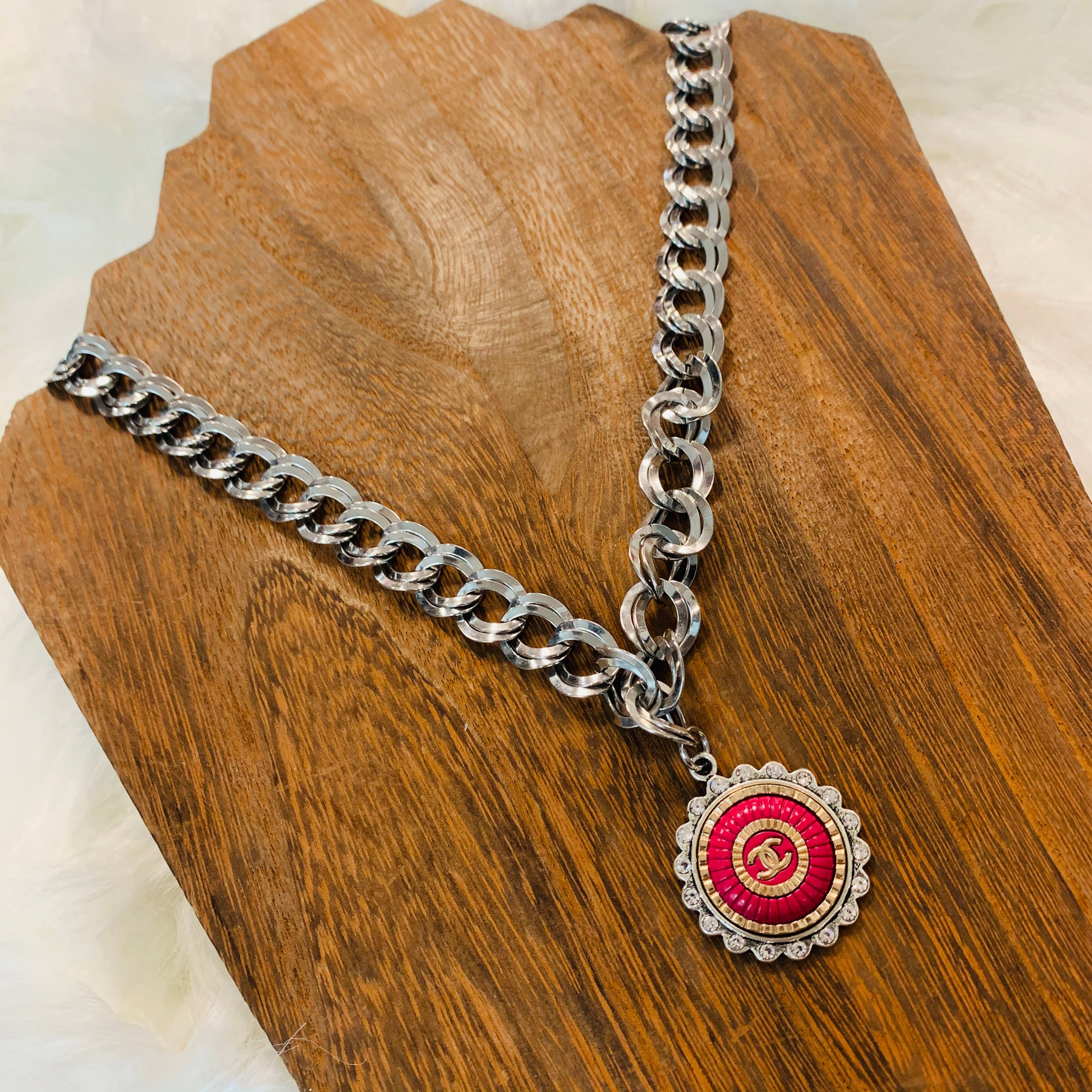 Silver Necklace With Vintage Pink Chanel Button