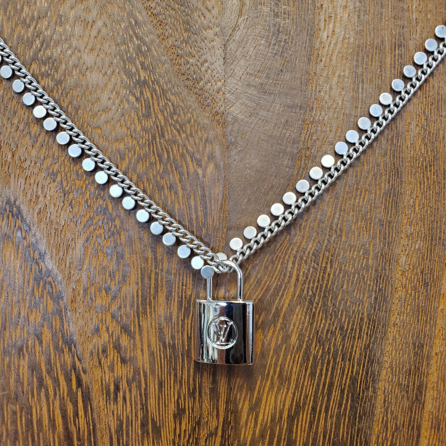 Vintage Silver Chain With Small LV Lock