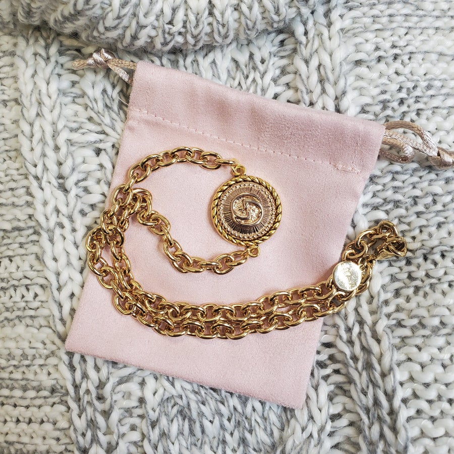 Gold Necklace With Vintage Gucci Button