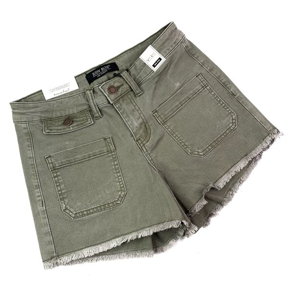 PLUS/REG Judy Blue Olive You Shorts with Raw Hem