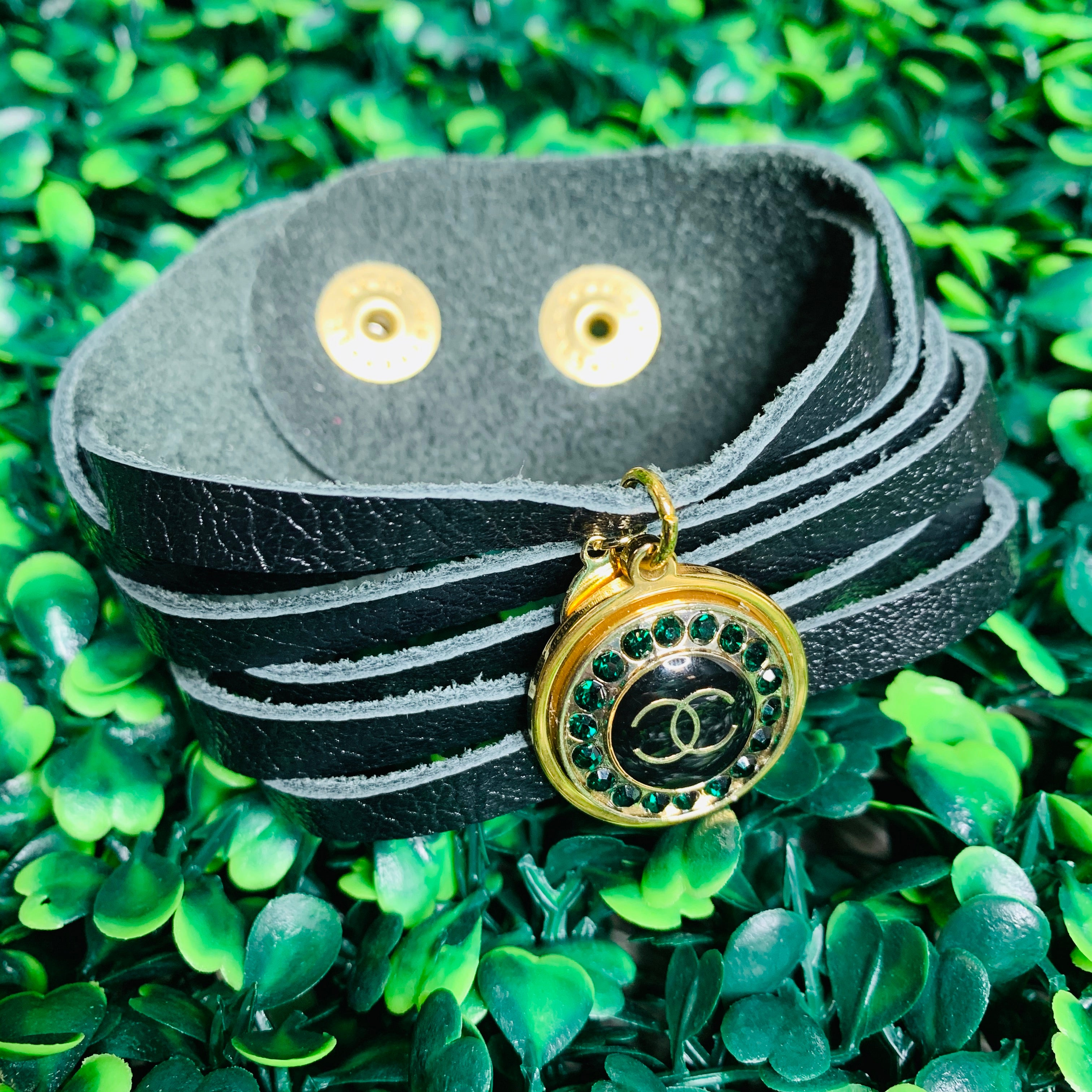 Charcoal Leather Cuff Bracelet With Vintage Chanel Button