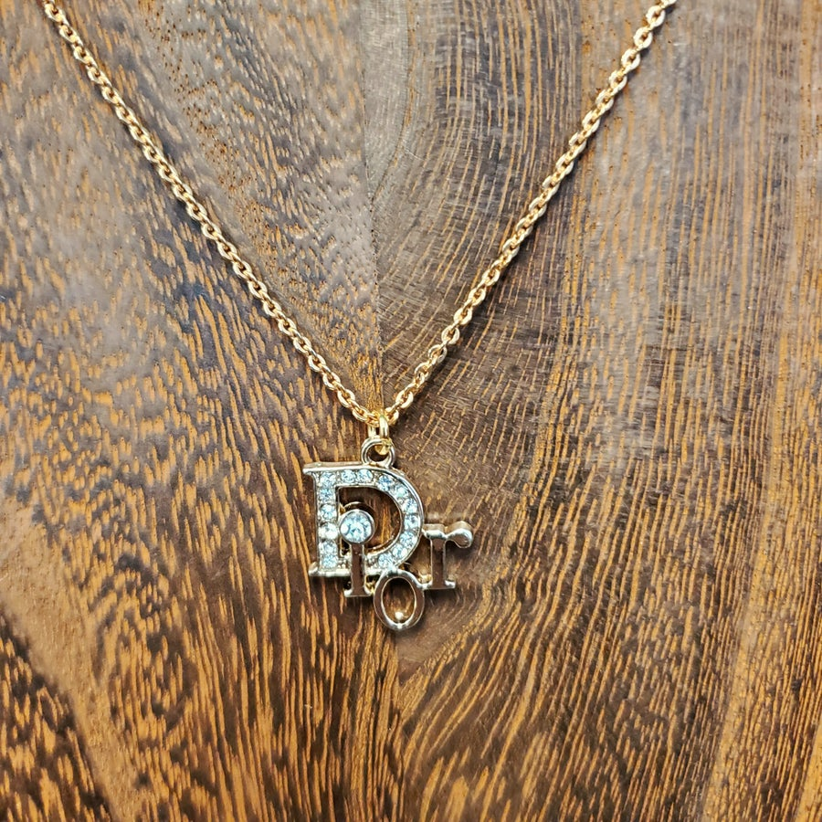 Vintage Gold Chain With Small Dior Charm