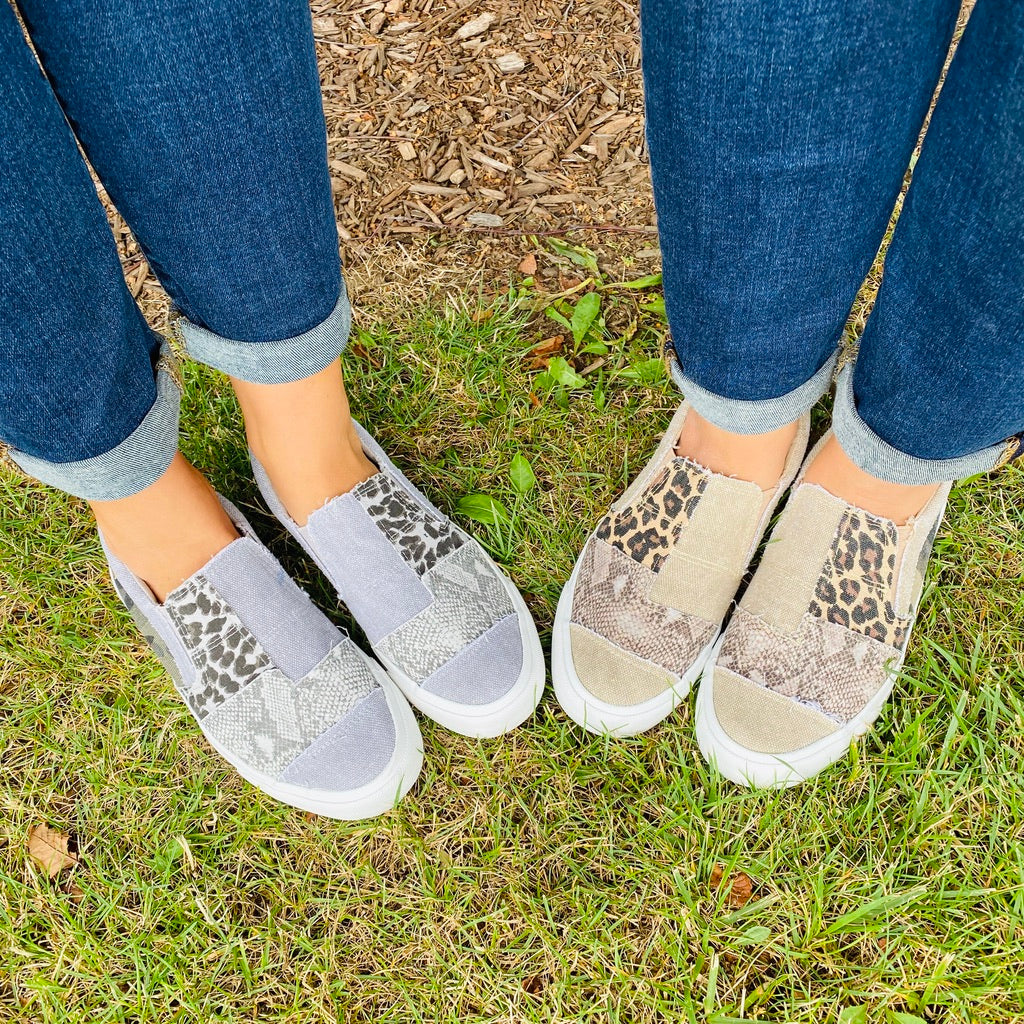 Blowfish Pattern Mix Slip On Sneakers- 2 Colors!