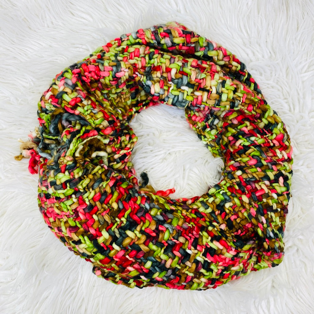 Red And Green Woven Knit Scarf