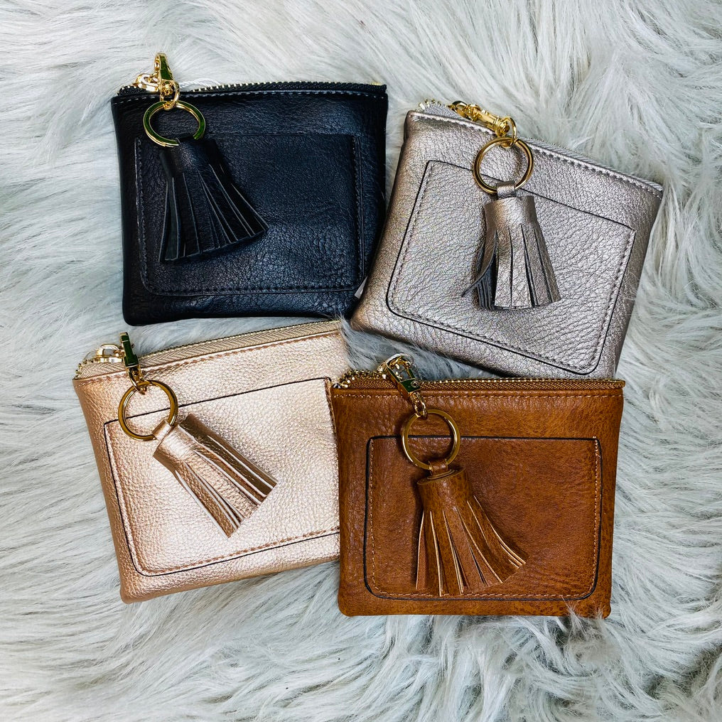 DOORBUSTER! Solid Coin Purse With Tassel- 4 Colors!